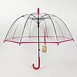 Прозорий посилений напівавтомат зонт трость антиветер з посиленими спицями, фото 6