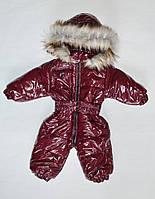 Детский зимний комбинезон для девочки от 0 до 1.5 года, цельный, бордовый лаковый, фото 1