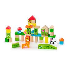 Дерев'яні кубики Viga Toys Зоопарк, 50 шт., 3 см (50286)