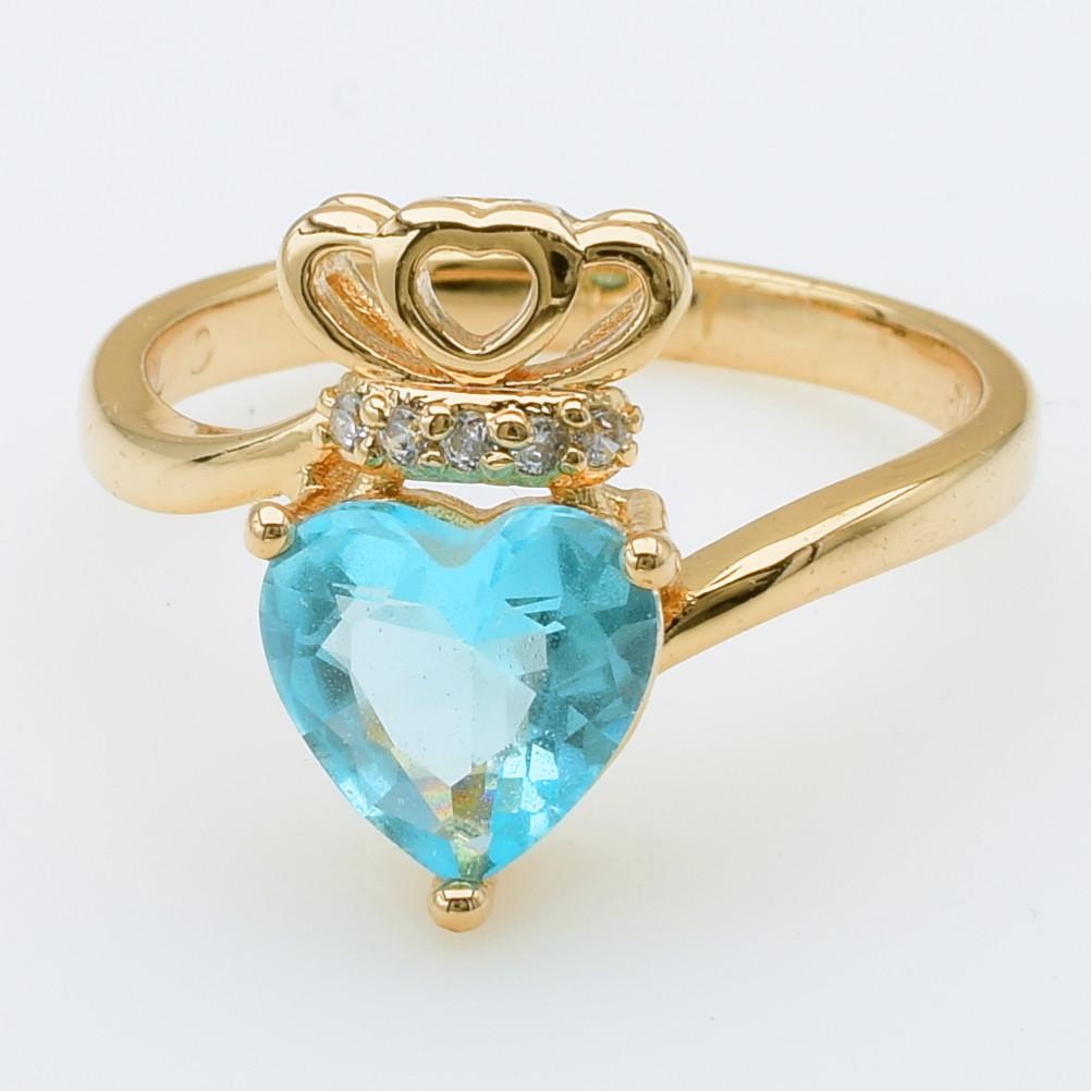 XUPING Кольцо Позолота 18к с голубым и белыми цирконами Высота 1.5см , Размер 17
