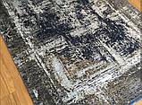 Темний потертий килим з шовку в сучасному стилі вінтажний килим в зал біля дивана, фото 3