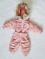 Детский зимний комбинезон для девочки от 0 до 1.5 года, цельный, человечек, пудра, фото 1