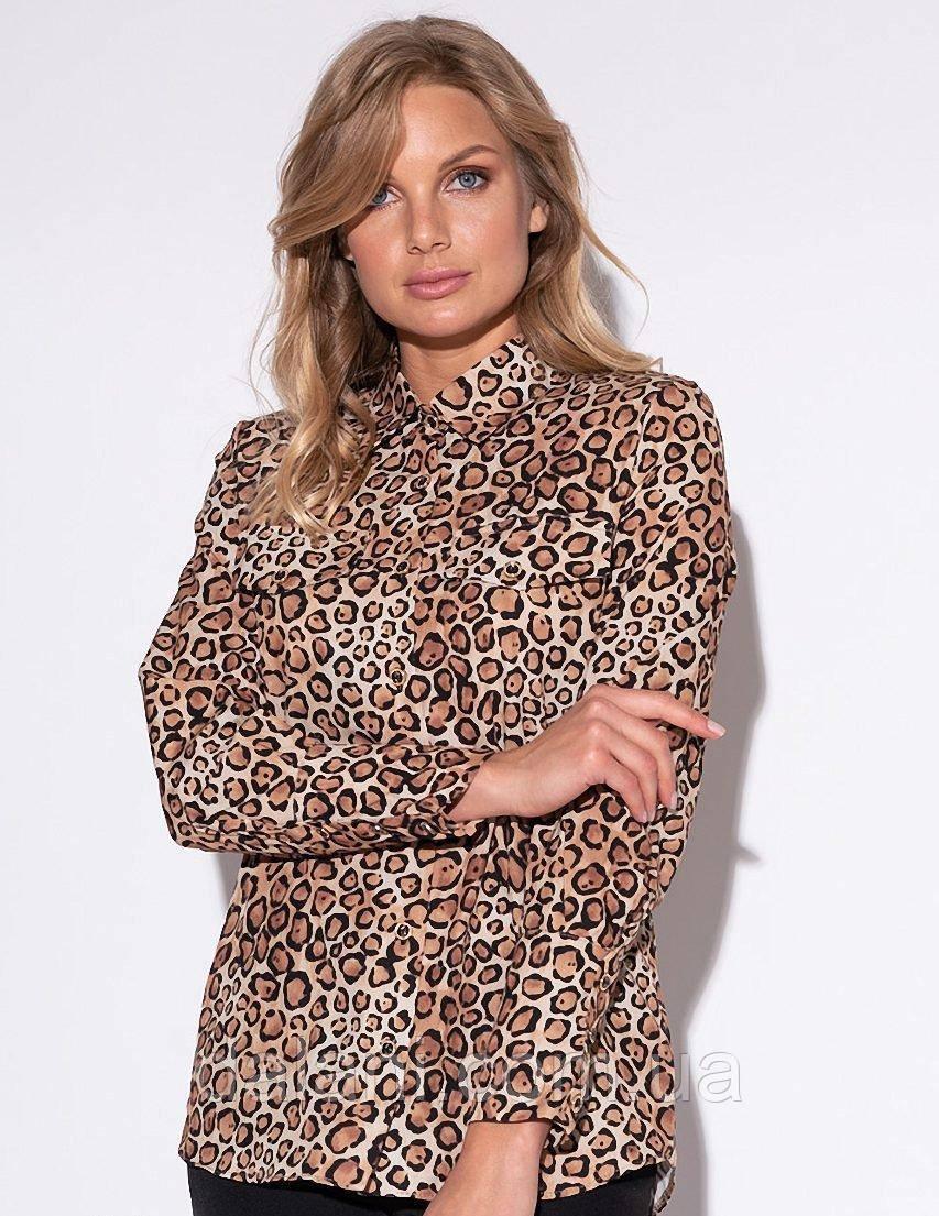 Женская бежевая рубашка с леопардовым принтом