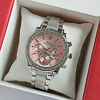 Женские наручные часы серебряного цвета на браслете Rolex розовый циферблат, дата - код 1762, фото 1
