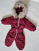 Детский зимний комбинезон на девочку от 0 до 1.5 года, цельный, человечек, бордовый, фото 1