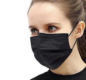 Одноразові маски, чорні, тришарові, з затиском