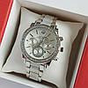 Женские наручные часы серебряного цвета на браслете Rolex серебристый циферблат, дата - код 1763