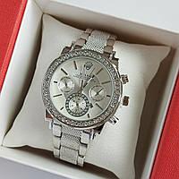 Женские наручные часы серебряного цвета на браслете Rolex серебристый циферблат, дата - код 1763, фото 1