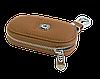 Ключница SKODA, кожаная автоключница с логотипом  ШКОДА (коричневая 22001), фото 4
