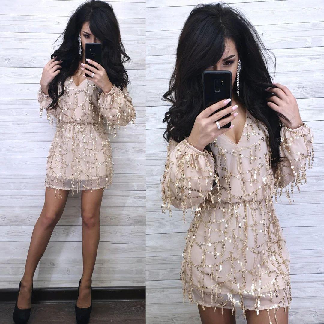 Платье нарядное свободное короткое с пайеткой длинный рукав