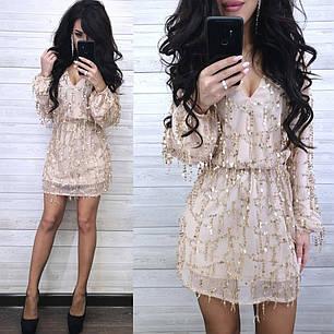 Платье нарядное свободное короткое с пайеткой длинный рукав, фото 2