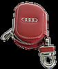 Ключница AUDI, кожаная автоключница с логотипом  АУДИ (красная 01015), фото 3