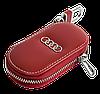 Ключница AUDI, кожаная автоключница с логотипом  АУДИ (красная 01015), фото 4
