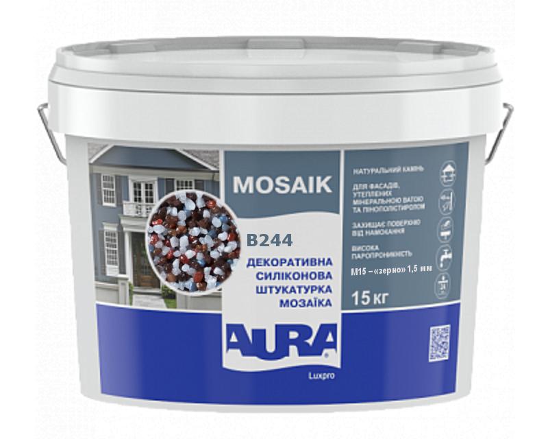Штукатурка кварцевая AURA LUX PRO MOZAIK M15 мозаичная (зерно 1,5 мм) B244 15кг