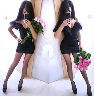 Чорне міні сукня з незвичайною баскою і декольте, фото 2