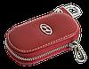 Ключница HYUNDAI, кожаная автоключница с логотипом  ХЮНДАЙ (красная 10015), фото 4