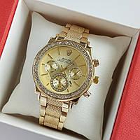 Жіночі наручні годинники золотого кольору на браслеті Rolex золотистий циферблат, дата - код 1765, фото 1