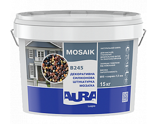 Штукатурка кварцевая AURA LUX PRO MOZAIK M15 мозаичная (зерно 1,5 мм) B245 15кг