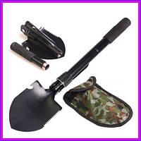 Универсальная туристическая лопата Shovel 4 в 1 с чехлом (Черный)