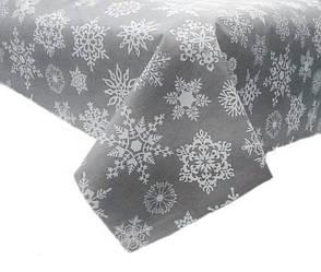 Новогодняя ткань Снежинки на сером