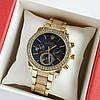Женские наручные часы золотого цвета на браслете Rolex синий циферблат, дата - код 1767
