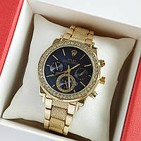 Женские наручные часы золотого цвета на браслете Rolex синий циферблат, дата - код 1767, фото 1