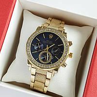 Жіночі наручні годинники золотого кольору на браслеті Rolex чорний циферблат, дата - код 1767, фото 1