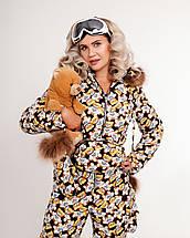 Зимний женский комбинезон с сумкой и варежками с натуральным мехом XS-XL, фото 2