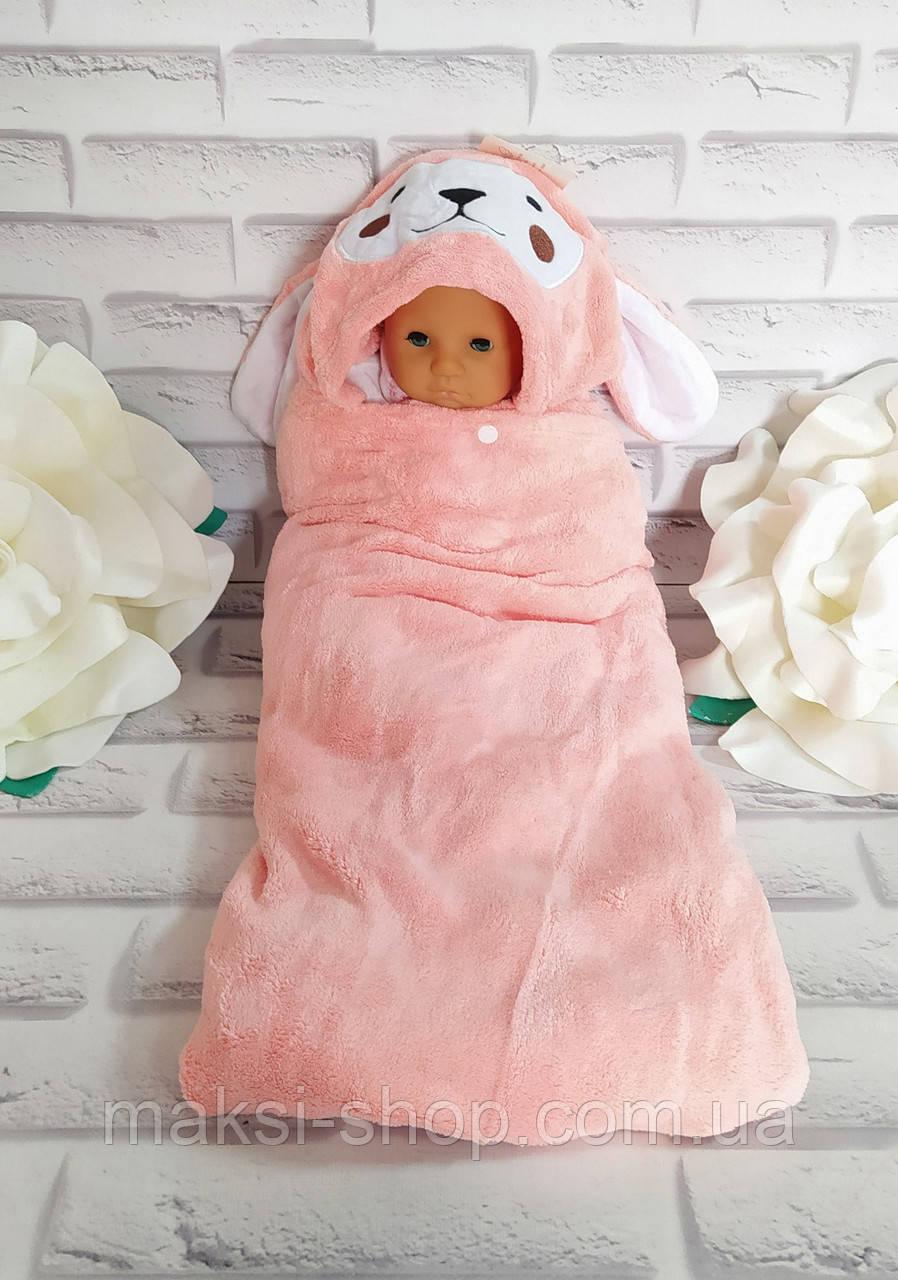 Уголок для купания 130*65 см детское полотенце плюш микрофибра с капюшоном
