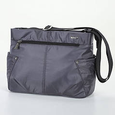 Женская сумка на плечо серая тканевая модная небольшая с двумя карманами Dolly 646 32х22х14 см