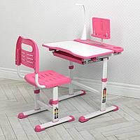 Парта ученическая детская + Лампа настольная Bambi M 4428-8 Розовый | Комплект растущая парта и стул