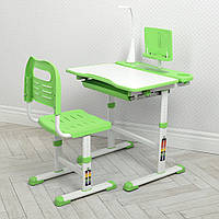 Парта ученическая детская + Лампа настольная Bambi M 4428-5 Зеленый | Комплект растущая парта и стул