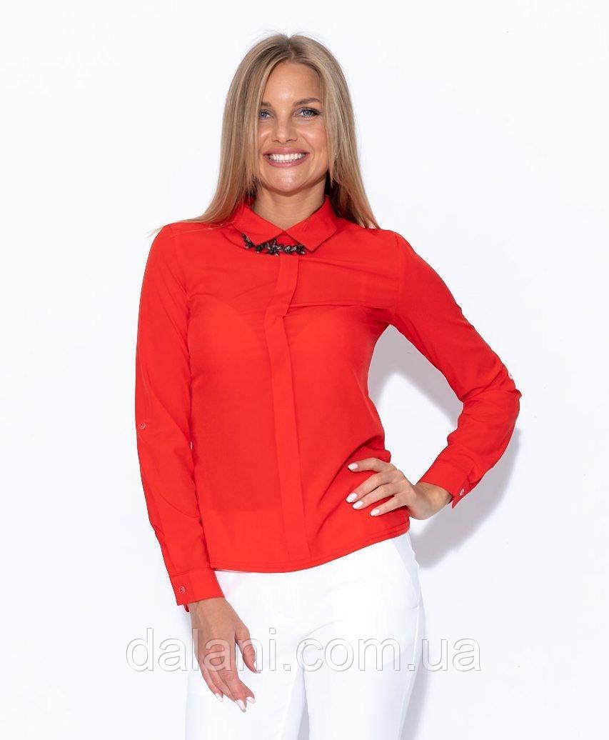 Жіноча червона сорочка з декоративною планкою