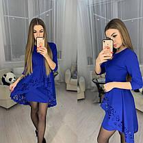 Ошатне плаття міні з незвичайною баскою і рукавами, фото 2