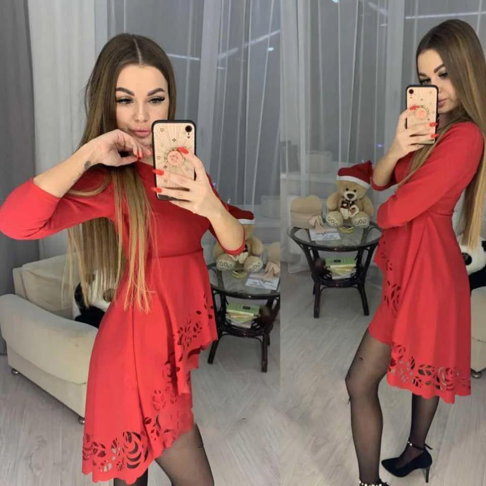 Ошатне плаття міні з незвичайною баскою і рукавами