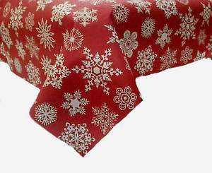 Новогодняя ткань Снежинки на красном