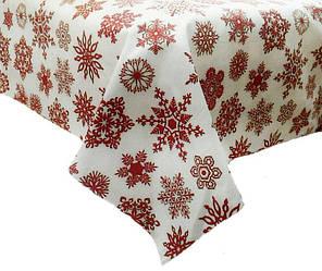 Новогодняя ткань Снежинки на белом