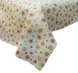 Новогодняя ткань Снежинки золотые с красным