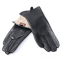 Перчатка Женская кожа F24/19 мод 5 black шерсть.Купить перчатки оптом в Украине по выгодным ценам