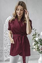 Изящная батистовая женская медицинская куртка размер 48 цвет марсала