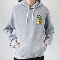 Мужское серое худи, карман с котами-кактусами, фото 1