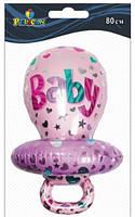 """Кулька повітр. фольгована """"Соска для дівчинки"""" 83см №835701/Pelican/(1)"""