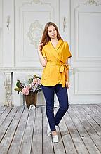 Яркая женская медицинская куртка на запах из батиста в желтом цвете 42-56