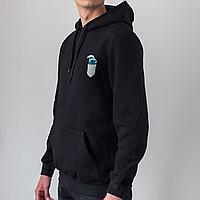 Мужское черное худи, карман с волной, фото 1