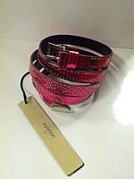 Ремень кожаный женский в два оборота Evona розовый, фото 1