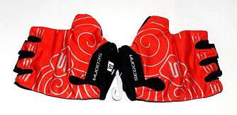 Рукавички велосипедні Sedona, без пальців, червоні, розмір M