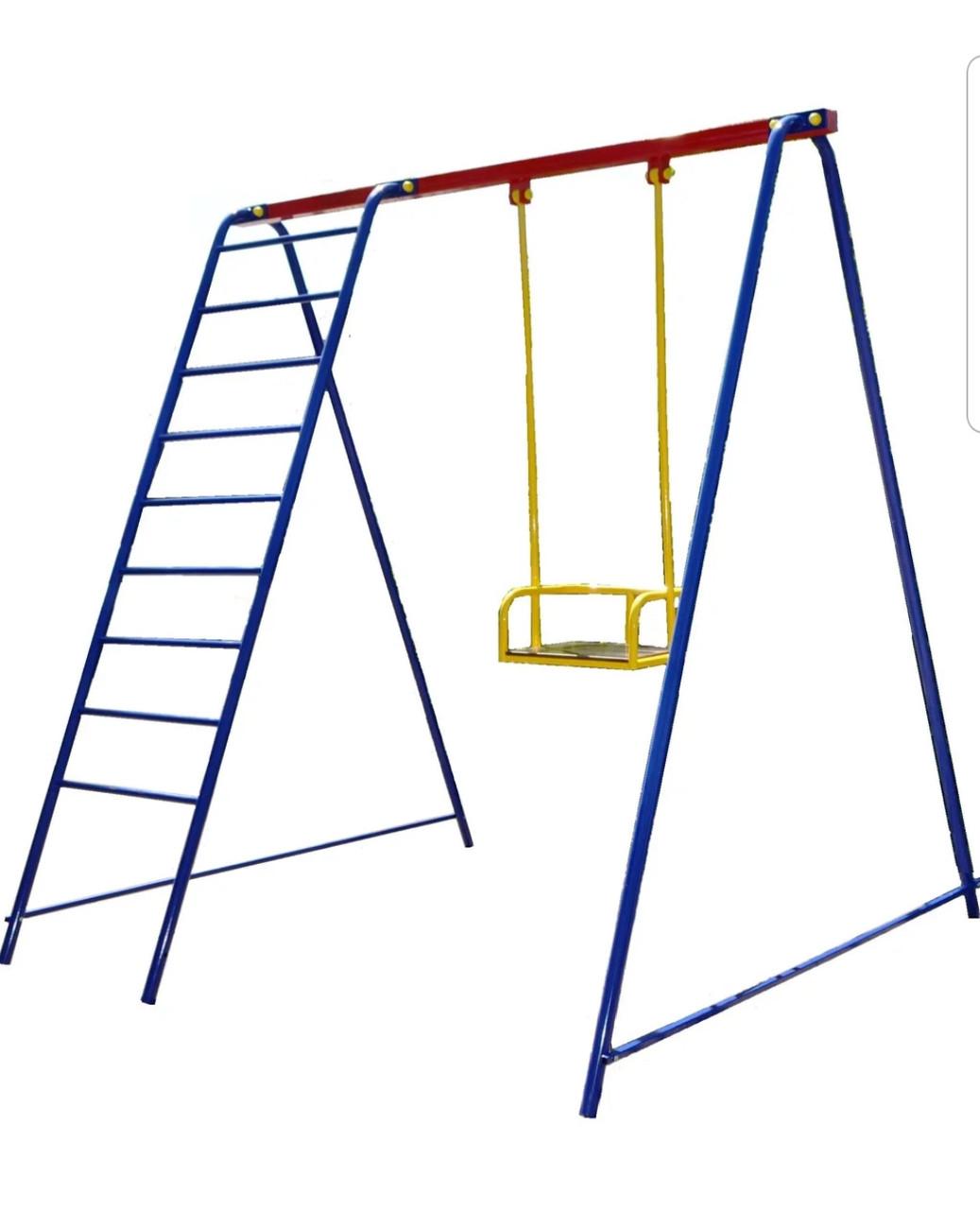 Качели детские уличные с лестницей. Игровой комплекс.