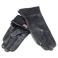 Перчатка Женская кожа F24/19-1 мод 8 black флис. Купить перчатки оптом в Украине по выгодным ценам