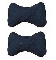 Автомобильная подушка на подголовник (2шт) ткань алькантара черная