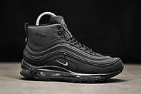 Кроссовки зимние Nike Air Max 97 мужские черные, рефлектив, Найк Аир Макс 97, нубук, мех, код TD-9225